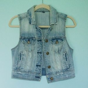 Cropped Length Blue Jean Vest